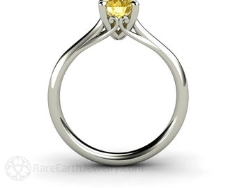 Yellow Sapphire Engagement Ring Vintage Filigree Solitaire Sapphire Ring 14K or 18K Gold September Birthstone Yellow Gemstone Ring