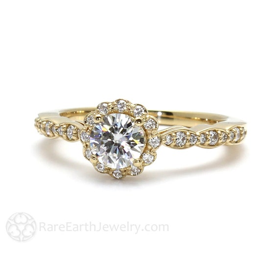 Moissanite Ring Conflict Free Engagement Ring Diamond by RareEarth