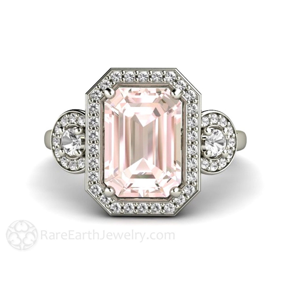 Pink Morganite Engagement Ring Emerald Diamond Halo Morganite