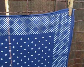 Vintage Blue Bandana Tuside 40s bandana Dots gently faded designs 40s cotton bandana Blue Kerchief