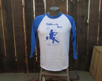 Vintage Baseball shirt 80s T shirt Fairfield 1984 Fiddler on the Roof California theater Vintage blue tshirt