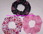 Think Pink Panther Fabric hair Scrunchies by Sherry Ties Scrunchie Pink Black Dots Ponytail Holders