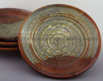 Yanara and Robert Wedding Registry - Pair of Appetizer Plates - Soft Yellow / Pale Green/ Spiral  - Reserved Listing