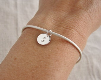 Personalized leather bracelet, stacking bracelet, silver initial bracelet, thin layering bracelet, custom color, any length, charm bracelet