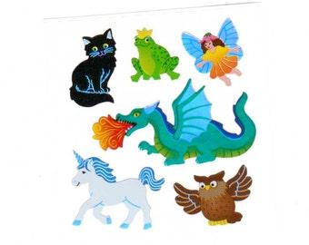 Fairy Tale Creatures by Sandylion Mylar black cat frog prince fairy dragon unicorn owl fable