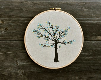 Sweet Flower Tree II - embroidery hoop art