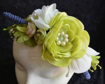 Wedding Hair Wreath, Flower Crown Wedding, Bridal Headband, Boho Wedding Crown, Green Flower Crown, Lavender Wild Flower, White Rose Tiara