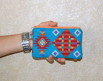 Tucson Navajo - iPhone 6s, iPhone 6, iPhone 5, iPhone 4, Samsung Galaxy S5/S6 - Cell Phone Gadget Zipper Pouch / Coin Purse