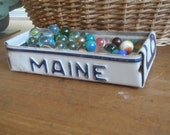 Maine License Plate Tray - Rustic Treasure Tray - Storage Box - Planter - FREE SHIPPING - Blue Embossed Lettering