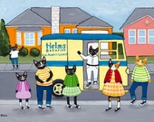 Helms Bakery Truck - Cat Folk Art Print 5x7, 8x10, 11x14, 16x20