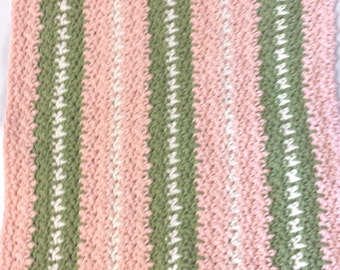 Cotton Dish Towel or Hand Towel in Moss Green, Peach and Cream, Summer Stripes Collection, pattern A