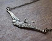 Soaring brass swallow necklace // N055