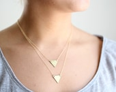 Minimalist Layered Triangle Necklace - Brass, Gold Fill or Sterling Silver Chain