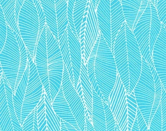 In the Bloom fabric by Valorie Wells for Robert Kaufman and Fabric Shoppe -Bloom Leaves in Turquoise, You Choose the Cuts