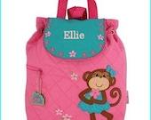 Personalized Monkey Girl Backpack, School Bookbag, Toddler Backpack, Diaper Bag, Boys Monogramed Backpack, Cute Girl Boy Backpack,School Bag