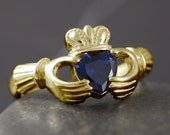 Natural sapphire claddagh ring handmade in solid gold