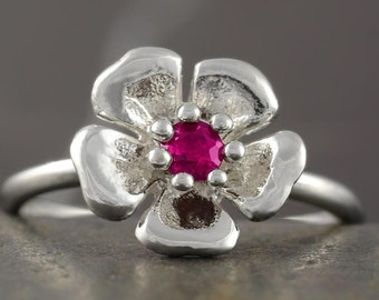 SALE - 50% off the original price - Rubelite pink Tourmaline flower ring in sterling silver - size 6