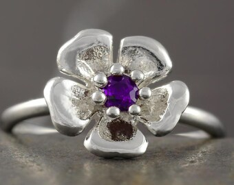 SALE - 50% off the original price - Amethyst Flower Ring in Sterling Silver - February Birthstone