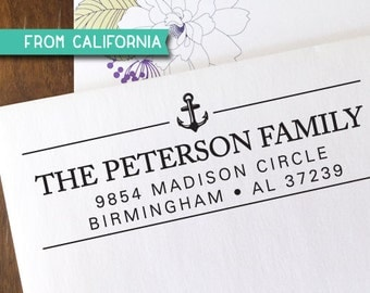 ANCHOR custom ADDRESS STAMP with proof from usa, Eco Friendly Self-Inking stamp, return address stamp, custom stamp, nautical custom stamp 2