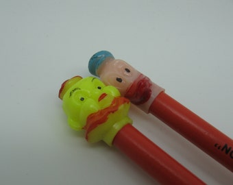 Set Vintage Advertising Pencils with Plastic Clown and Duck Toppers