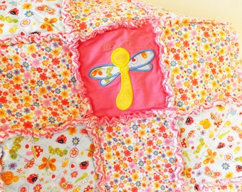 Baby Rag Quilt - Scattered Bugs Flowers Applique - Caterpillar - Butterfly - Dragonfly - Ladybug - Toddler Crib Rag Quilt