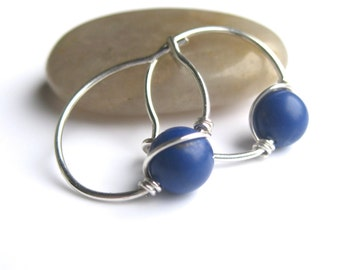Little Blue Gemstone Hoops, Blue Earrings, Blue Hoops Sterling Silver Hoop Earings