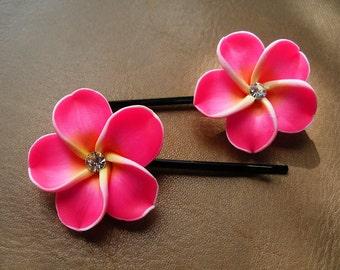 Bobby Pins, Hair Pins, Hair Accessories, Hair Jewelry, Natural Hair, Hair Decor, Fruit Punch Hawaiian Plumeria Flower Bobby Pin Set