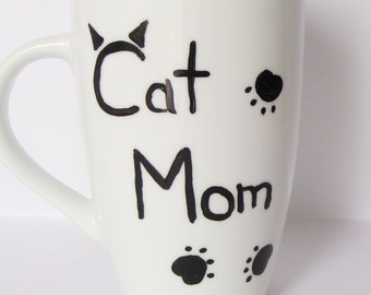 Cat Mom Tall  Mug/Cup Hand Painted