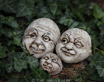 Garden decor, stone faces, funny stones, gnomstones