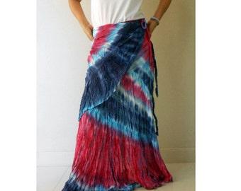 Red Blue Tie Dye Cotton Boho Hippie Summer Casual Long Ruffle Wrap Skirt S-L (TD 46)