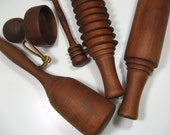 RESERVED Mid Century 5 Piece Wooden Utensil Set Rolling Pin Pasta Noodle Honey Dipper Biscuit Cutter Pestle
