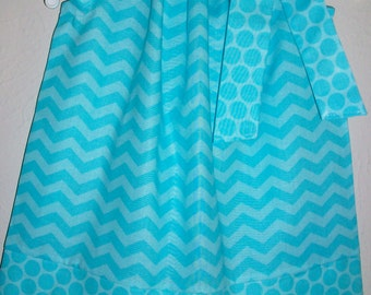 SUMMER SALE Pillowcase Dress Elsa Dress Chevron Dress Chevron and Dots Aqua Blue dress Birthday Dress Summer Dresses Sister Dresses