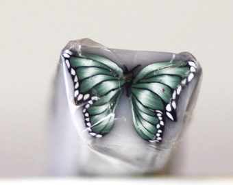 Green Butterfly Cane, Polymer Clay Flutterby, Deep Green Raw Unbaked Cane