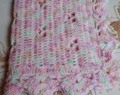 Crochet Baby Doll Blanket Afghan 20 x 18 inches KBA03 Girl Pink Green white