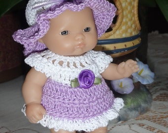 Crocheted outfit Berenguer 5 inch Lots to Love baby doll  Dress Set  Purple White Rose