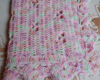 Crochet Baby Doll Blanket Afghan 20 x 18 inches KBA03 Girl Pink Green white