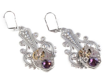 Steampunk Victorian Antiqued Silver Filigree Earrings with Matched Vintage Watches and Amethyst Plum Swarovski Crystals by Velvet Mechanism
