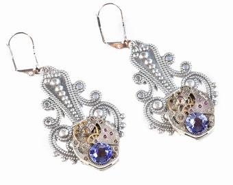 Steampunk Antiqued Silver Filigree Earrings with Matched Vintage Watches and Purple Tanzanite Swarovski Crystals by Velvet Mechanism