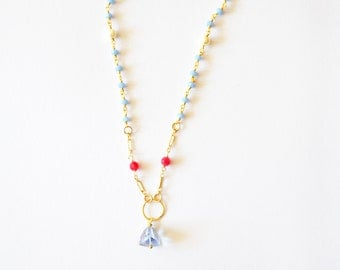 14k Gold Beaded Necklace Modern Geometric with Blue Lapis Fuchsia / Hot Pink Chalcedony and Tanzinite Gemstones and Freshwater Pearls