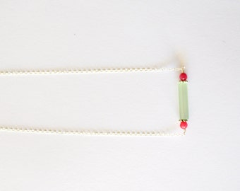 Simple Modern Geometric Sterling Silver Green Glass Column Pendant Chain Necklace with  Fuchsia Pink Chalcedony Gemstone / Everyday Jewelry