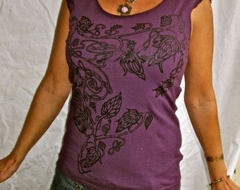 Celtic Hops Tshirt Purple Stretchy Cotton Made in USA Sm. M, XL