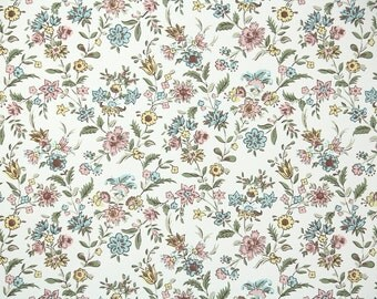 1940s Vintage Wallpaper by the Yard - Floral Wallpaper with Pink and Blue Mini Floral Chintz on White