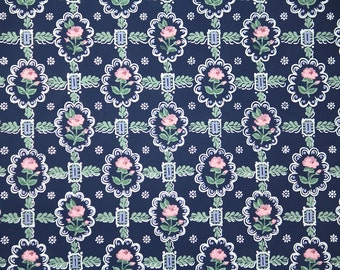 1940s Vintage Wallpaper by the Yard -  Pink Roses on Dark Blue