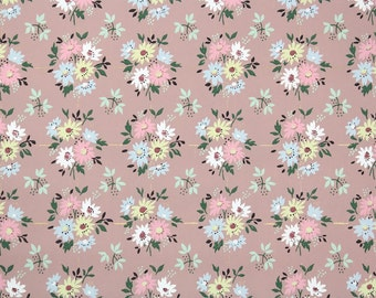 1940's Vintage Wallpaper - Floral Wallpaper with Pink Blue and Yellow Daisies on Mauve Brown