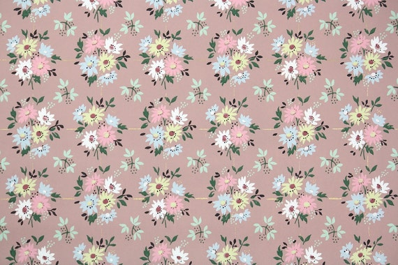 1940s Vintage Wallpaper by the Yard - Floral Wallpaper with Pink Blue and Yellow Daisies on Mauve Brown