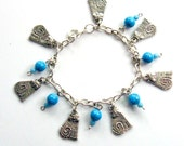 Silver Cat Charm Bracelet with Turquoise Beads