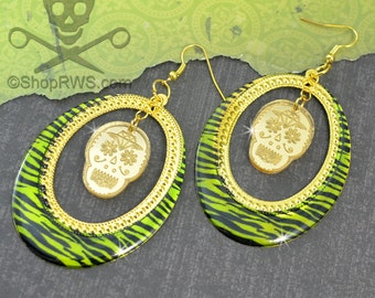SWEET ZOMBIE - ZEBRA Stripe and SKull Gold Laser Cut Acrylic Charm Hoop Earrings