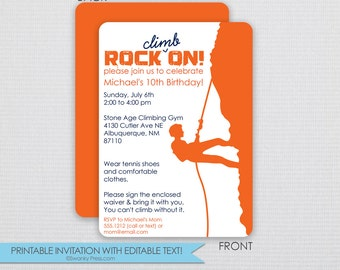 Rock Climbing Party Invitation - DIY - Instant Download & Editable File - Personalize at home with Adobe Reader