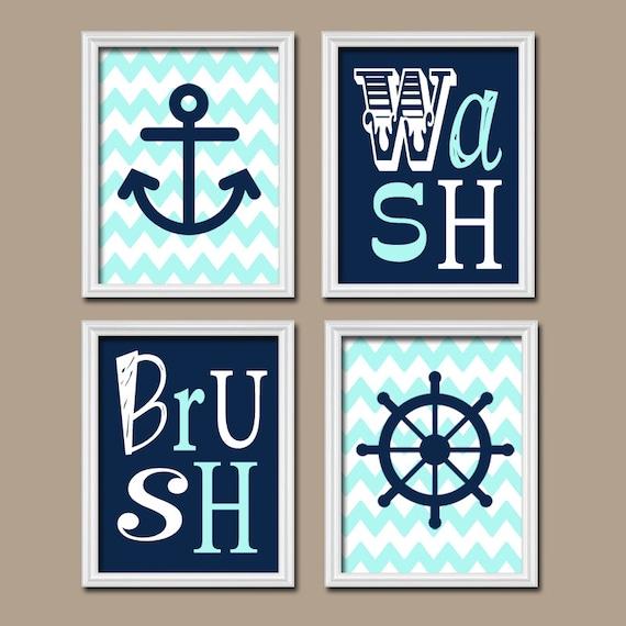 Nautical Child BATHROOM Wall Art CANVAS Or Prints Navy Aqua BATHROOM