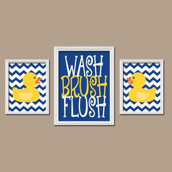 Rubber duckie bathroom navy yellow duck wall art canvas or prints